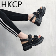 HKCP Fashion Platform sandals womens summer sports thick-soled 2019 new Korean version of one-size-fits tall C221