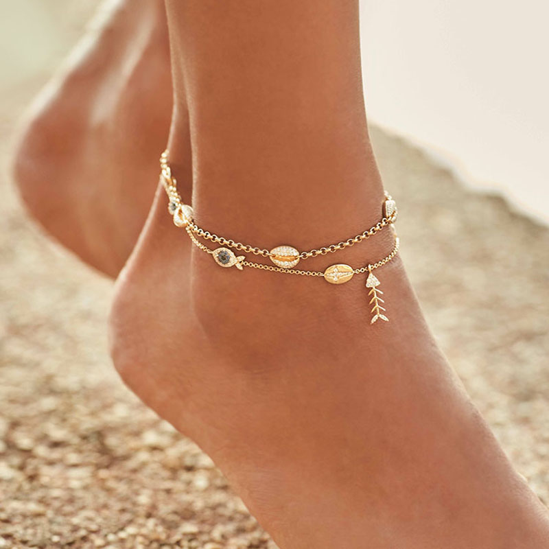 SLJEY Brand 925 Sterling Silver Cubic Zirconia Yellow Gold Color Conch Shell Eye Fish Anklet Women