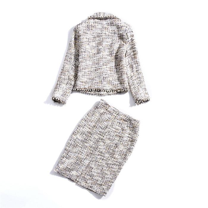Multi Longueur Genou De Veste Hiver Costume Qualité Haute Jupes Jupe Tweed Femmes Et Cc Élégant Deux Manteau Mode Ensembles Pièces 2018 Automne n4P17p
