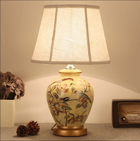Chinese rustic flower bird pattern ceramic art Table Lamps Fashion warm linen shade E27 LED lamp for bedside&foyer&studio MF019