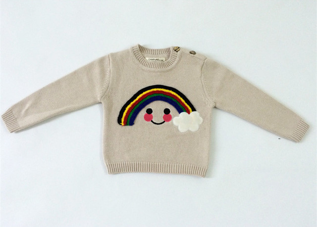 Rainbow Smile Autumn Spring Knit Sweater Christmas Clothes Child O-neck Jumper For Boys Girls Pullover Sweaters AS-1580-1