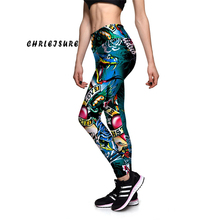 CHRLEISURE S-XL Colorful Snake Totem Flower Skull Printed Leggings Stretch High Waist Big Size Fitness Trousers Pants For Women