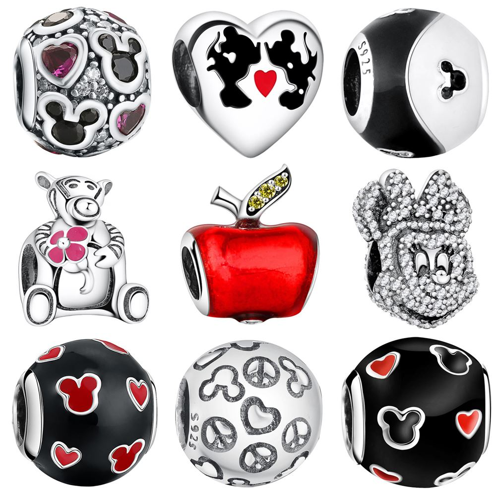 WYBEADS Fine 925 Sterling Silver Minnie & Princess Dress Charms CZ Pendant European Bead Fit Bracelet DIY Accessories Jewelry
