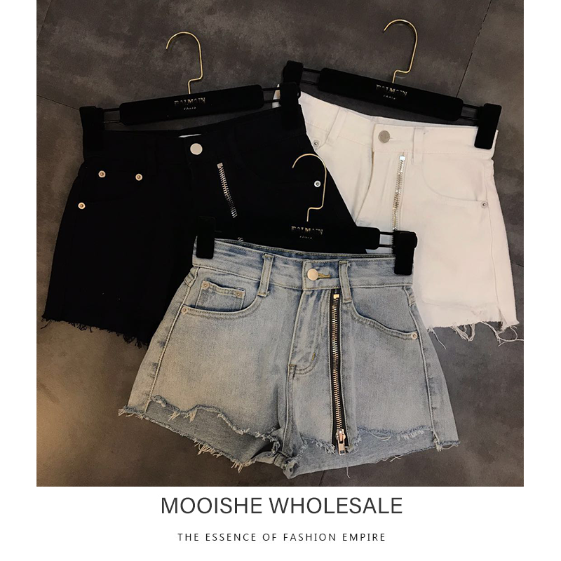 Cut Hems Zipper Front Denim   Shorts   Women High Waist Vintage Black White Blue   Short   Jeans