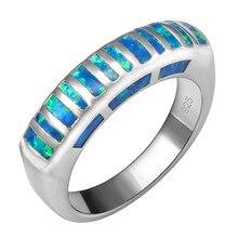 Caliente venta exquisito ópalo de fuego azul plata de ley 925 anillo de la buena calidad hermosa joyería tamaño 6 7 8 9 F1557