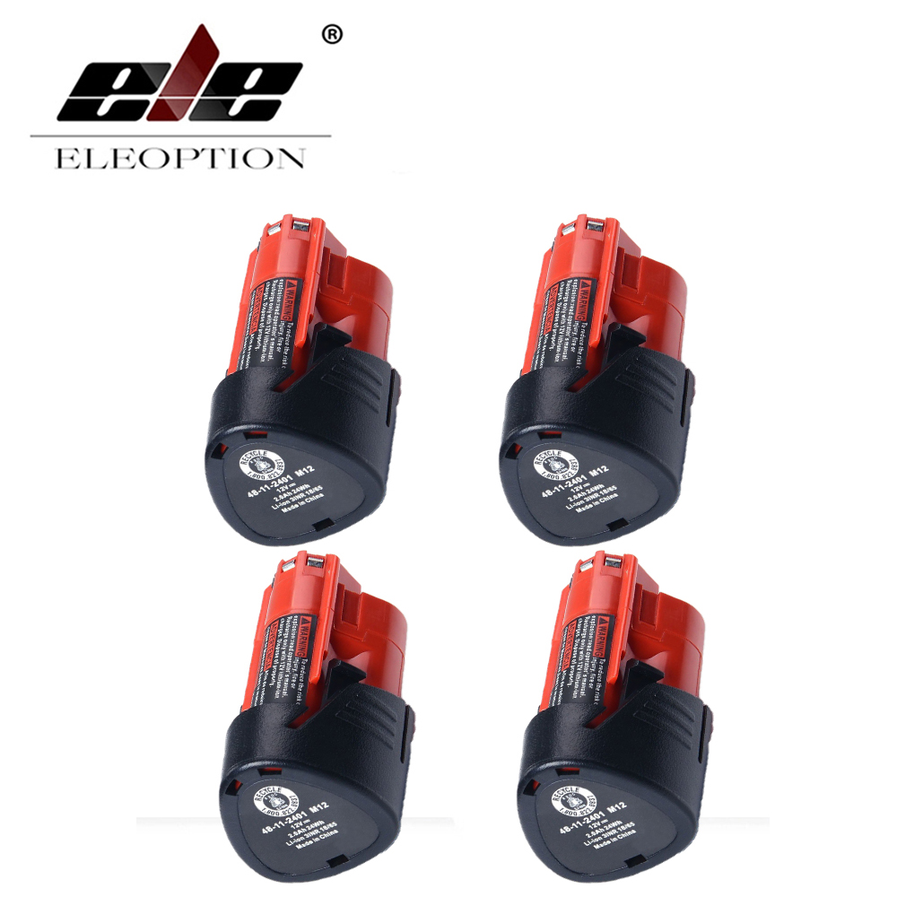 ELEOPTION 4PCS 48-11-2401 Eleoption Power Tool Battery For Milwaukee M12 12V 2000mAh Li-ion Rechargeable Spare Battery