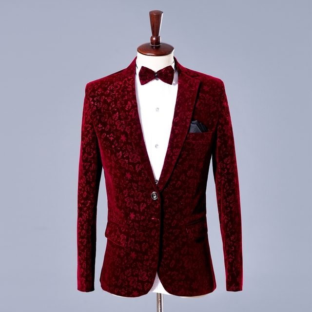 Wine Red Floral Suit Blazer Men 2018 Fashion Groomsman Groom Wedding 2 Piece Suit (Jacket+Pants) Men Party Stage Singer Costume