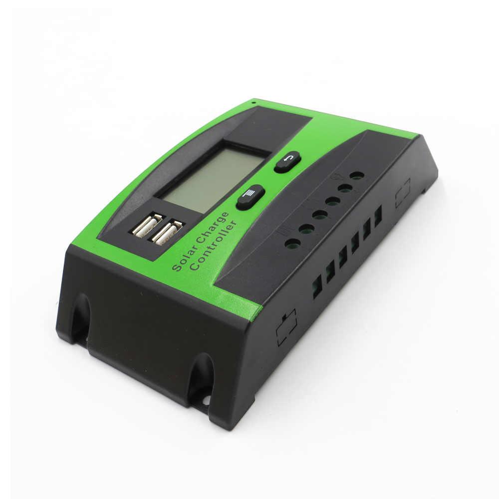 60A 50A 40A 30A 20A 10A 12 В 24 ШИМ Солнечная батарея для телефона батарея Контроллер заряда Регулятор ЖК дисплей USB 5 мобильного телефона зарядное устройство