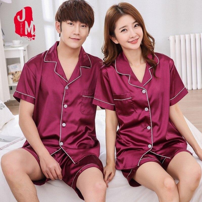 Silk Men Sleepwear Pajama-Sets Suit Short-Sleeve Satin Summer Solid For Man Male XL-XXXL