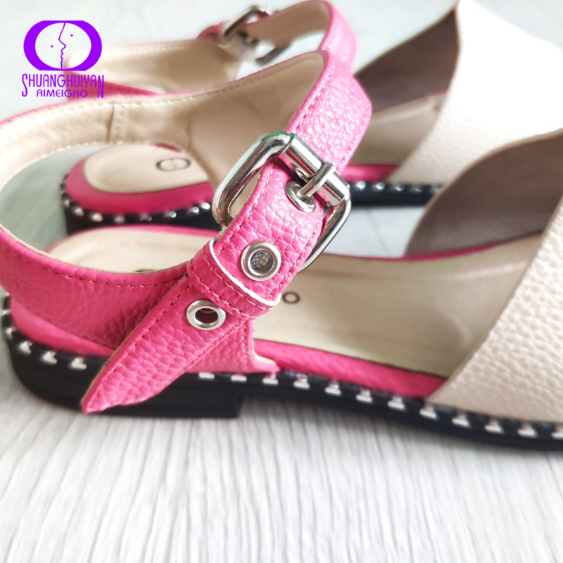 AIMEIGAO New Arrivals Soft Leather Casual Sandals Women in Flat Sandals Comfortable Flats Heels Women Ladies Sandals Shoes