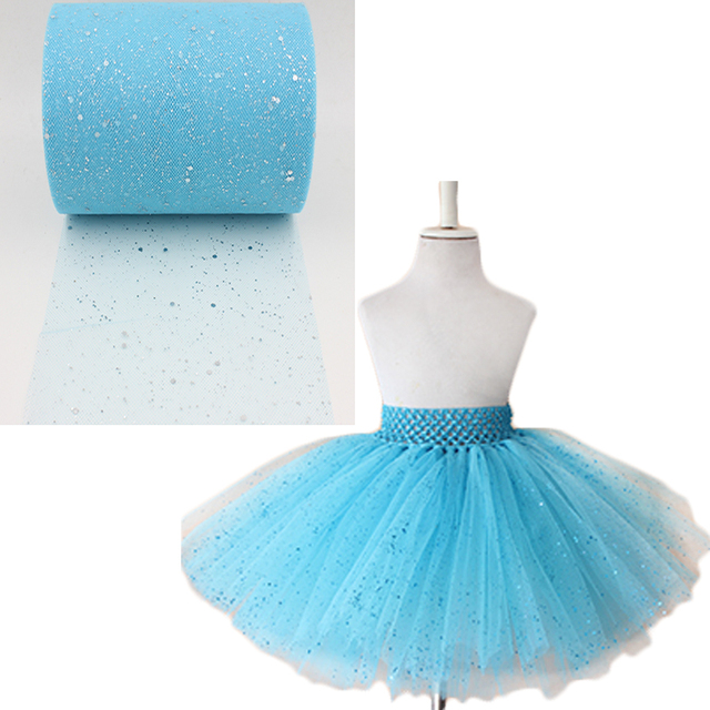 "2016 nuevos cequis de tulle rollo lentejuelas turquesa tul rollo 6 "" X100yards blue glitter tutu falda para las niñas party decorativo"