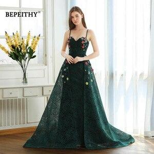 Image 1 - BEPEITHY ירוק תחרה ארוך שמלות נשף ספגטי רצועות עם פרחים 2020 vestido דה Festa שמלת ערב מסיבת שמלת מכירה לוהטת