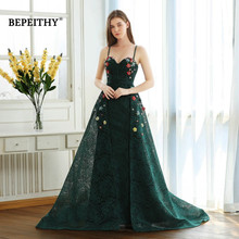 BEPEITHY Green Lace Long Prom Dresses Spaghetti Straps With Flowers 2020 Vestido De Festa Evening Dress Party Gown Hot Sale