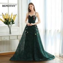 Bepeithy グリーンレースロングウエディングドレススパゲッティストラップと花 2020 vestido デ · フェスタイブニングドレスパーティードレスホット販売