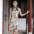 New Printed Floral Chinese Traditional Dress Women's Summer Cotton Linen Qipao Short Slim Sexy Cheongsam S M L XL XXL 2611-3