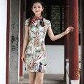 Nova Impresso Floral Chinês Tradicional Vestido de Verão das Mulheres de Linho de Algodão Qipao Curto Fino Cheongsam Sexy S M L XL XXL 2611-3