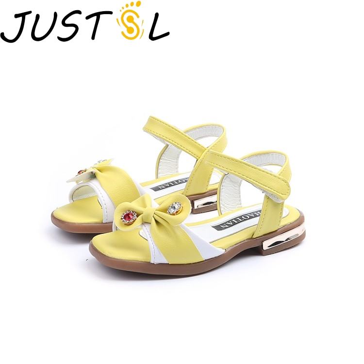 JUSTSL 2018 New Summer Childrens Sandals Shoes Gilr Bow Princess Shoes Student Sandals