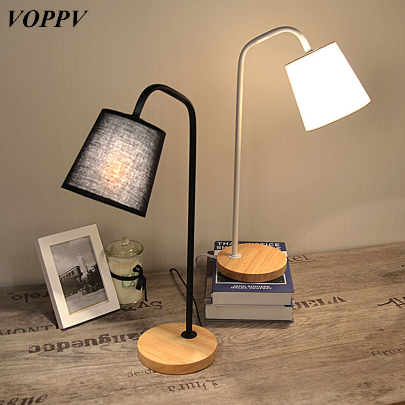 VOPPV Novelty Modern LED Fabric Table Lamp Metal & Wooden E27 Bedroom Living room Fabric Shade in LED Table Light Indoor Lights стоимость