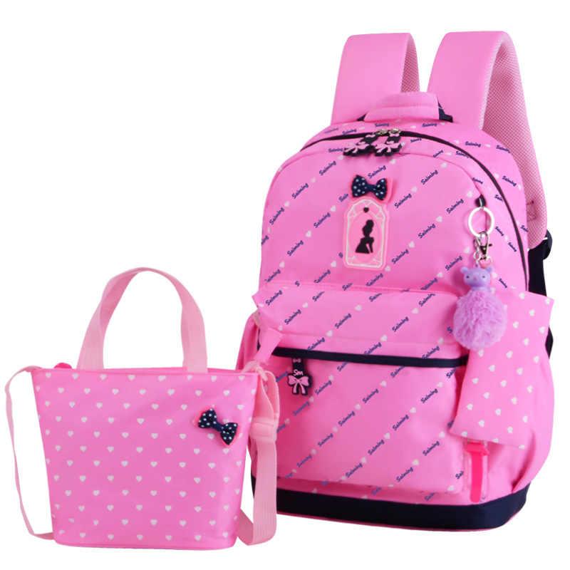 3 шт./компл. школьные рюкзаки для девочек ортопедические школьные сумки в горошек печать школьная сумка для подростков книжная сумка рюкзак Moch