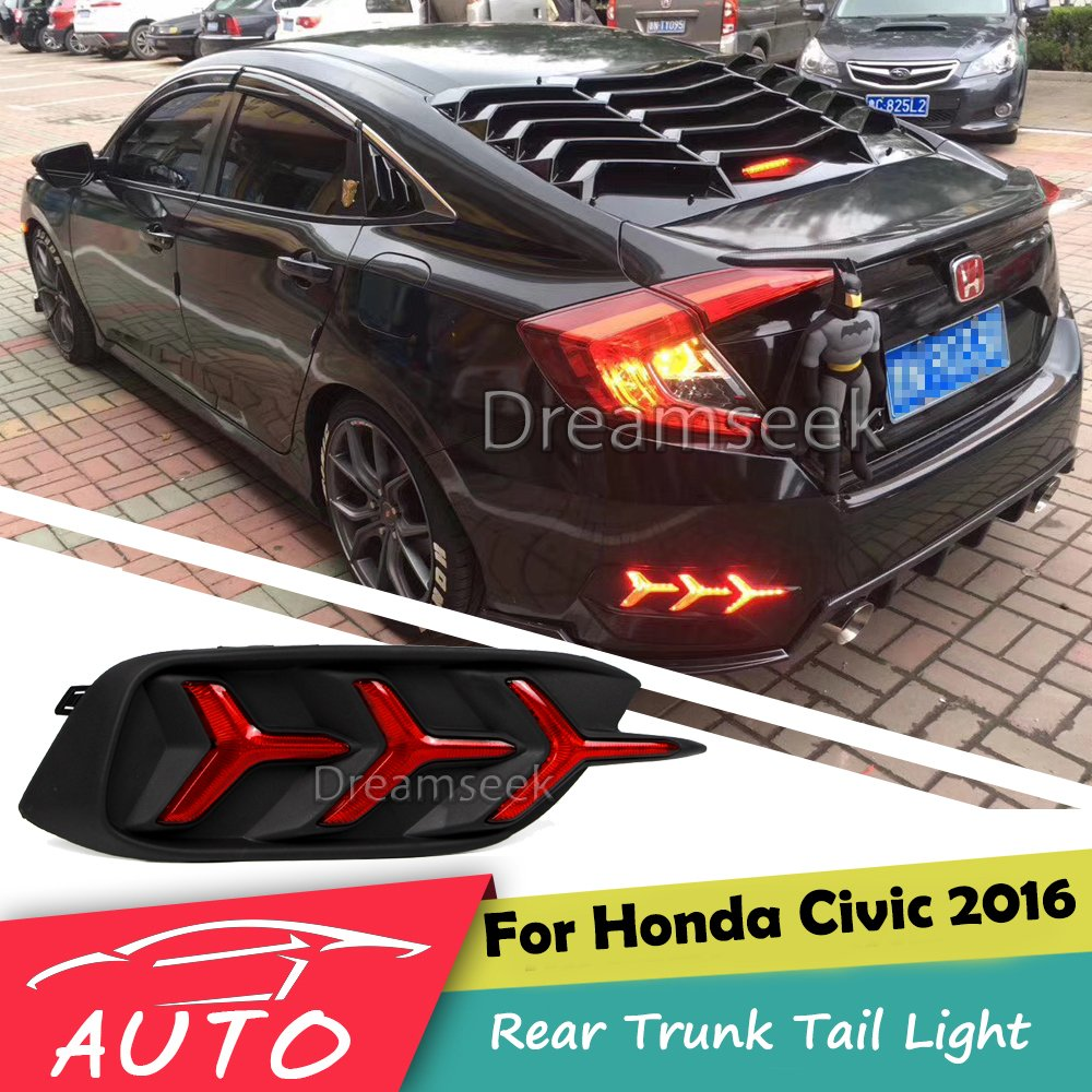 Rear Bumper Tail Light For Honda Civic 2016 2017 Red LED Reflector Brake Lamp Parking Warning Night Driving Fog Lamp cyan soil bay car led rear bumper reflector red parking warning stop brake light tail fog lamp for honda accord 9th 2014 2016