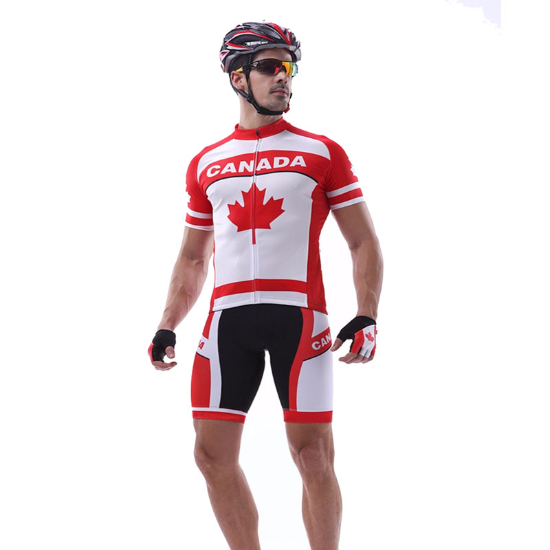 New cycling jersey set Red Men short MTB ropa Ciclismo bike wear Canada cycling clothing Breathable Bicycle bib shorts gel pad