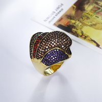 New Arrival Women Ring 2018 Gold Color Colorful Bright Cubic Zircon Big Size Luxury Wedding Aneis