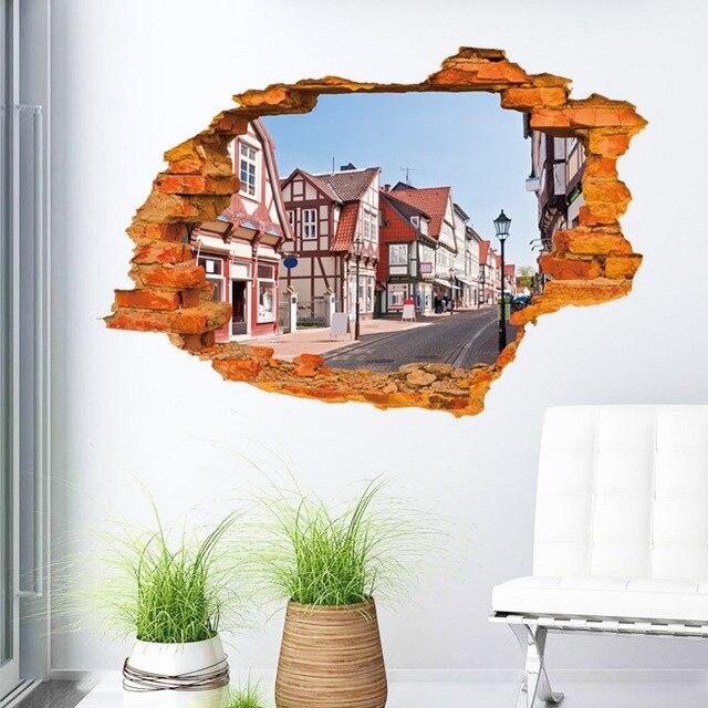60*90cm 3d wall stickers fashion street landscape red brick broken