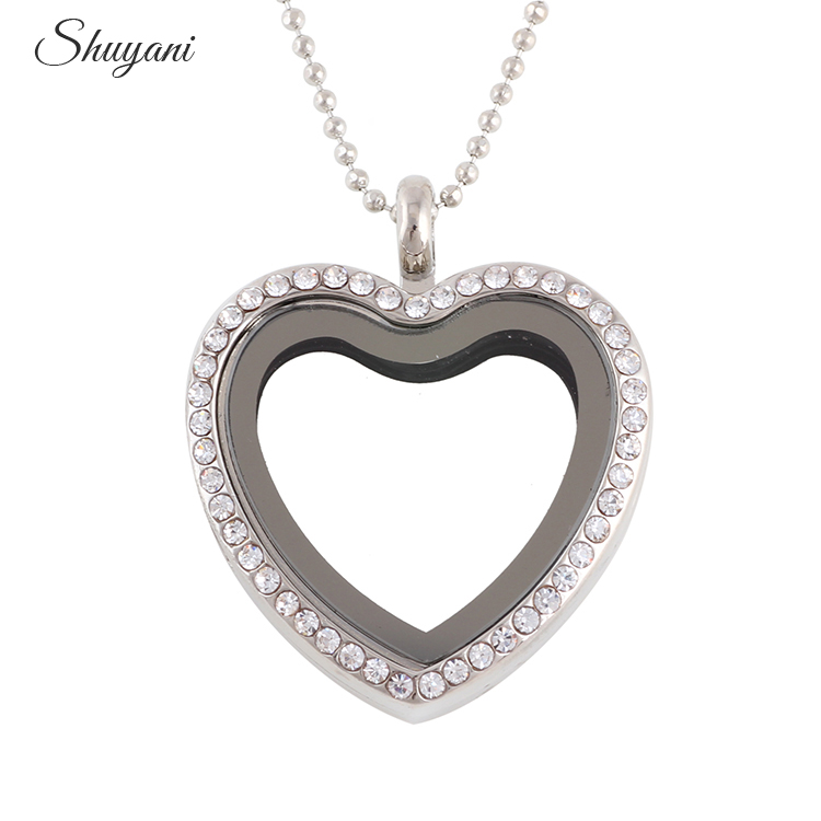 10pcs / lot Rhinestone Alloy Heart Locket flotante Collares y - Bisutería