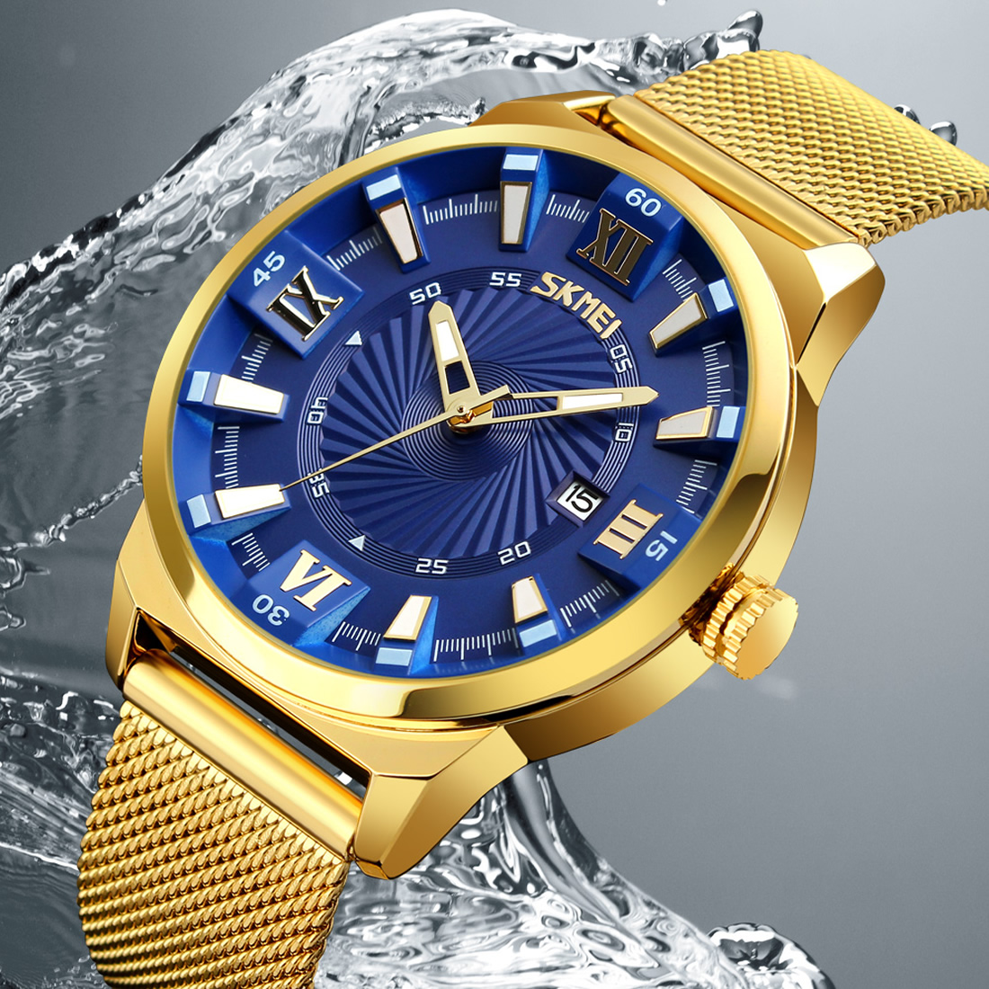 Full gold stainless steel men wristwatch mesh strap date display watch business top brand luxury big dial quartz formal watches rosra brand men luxury dress gold dial full steel band business watches new fashion male casual wristwatch free shipping