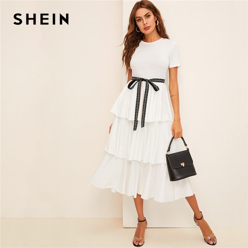 Шеин элегантный белый контраст галстук талии слоистых рюшами Высокая талия длинное платье для женщин летние однотонные офисные женские ту...