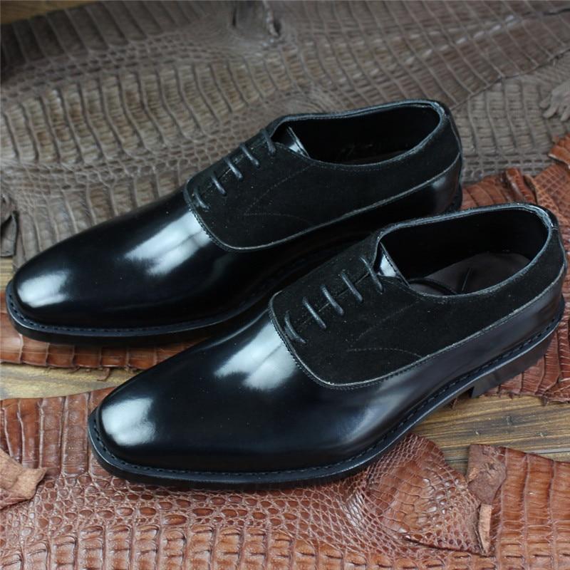 De Zapatos Hombre Y Para Gamuza Patente Oxfords Vestir Hecho A Maloneda Cuero Goodyear Vaca Formales Encaje Negro Mano FwXfTq