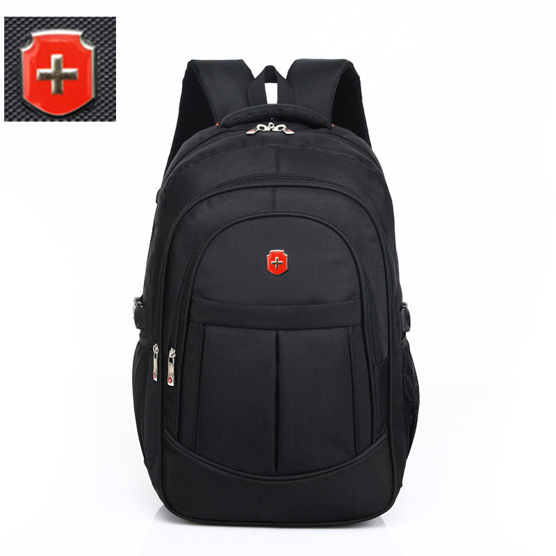 swiss black male Multifunctional 17 inch men boy Waterproof Laptop backpack computer Bag Nylon Men's Travel bagpack Sac a Dos image