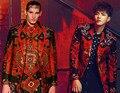 Мужские 3 шт. костюмы куртка + + брюки выпускного вечера костюм последний суперзвезда дизайн певица сценический костюм геометрия комод для ну вечеринку