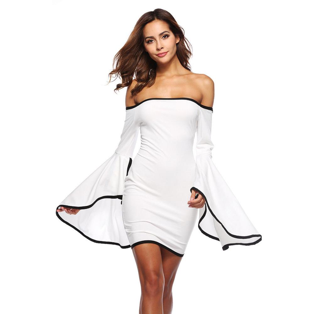 Women Summer Boho Flare Sleeve Short Dress 2019 Fashion Sexy Off Shoulder Sexy Bodycon Bandage Party Dress Slim Black Vestidos in Dresses from Women 39 s Clothing