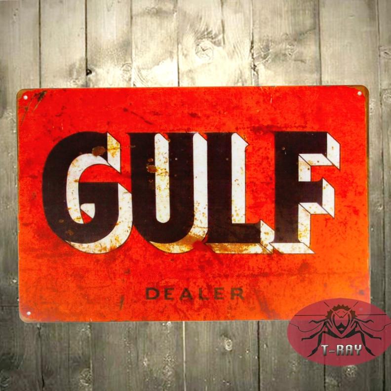 Vintage Home Decor TIN SIGN Gulf Dealer Oil Gas Pump Metal Parts Service  Auto Shop Garage