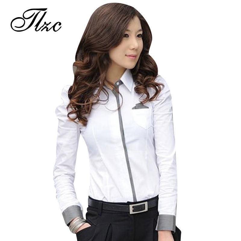 Tlzc Women Shirt New Fashion Office Lady White Shirt 2017