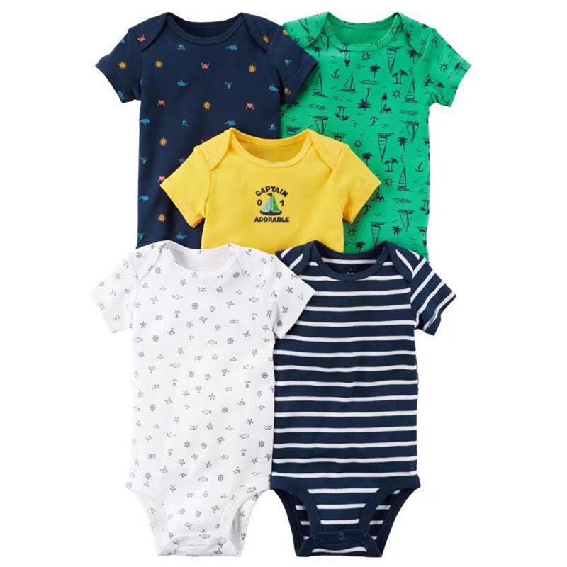 2018 Summer Baby   Rompers   5pcs Short Sleeve Overalls Cartoon Print Baby Boy Clothes Newborn Girl Jumpsuit Stripe Clothing New