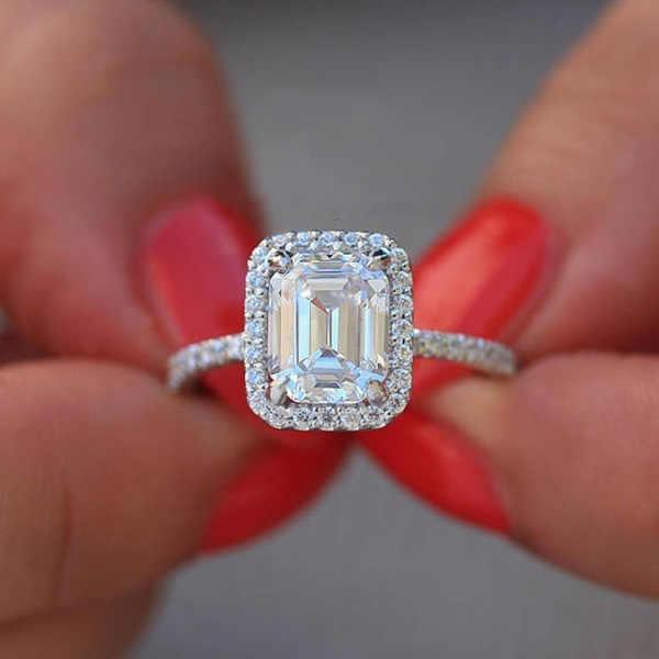 Anéis de casamento Para As Mulheres Exquisite Praça AAA Zircon Jóias de Prata Tamanho Do Anel de Noivado 6 para 10