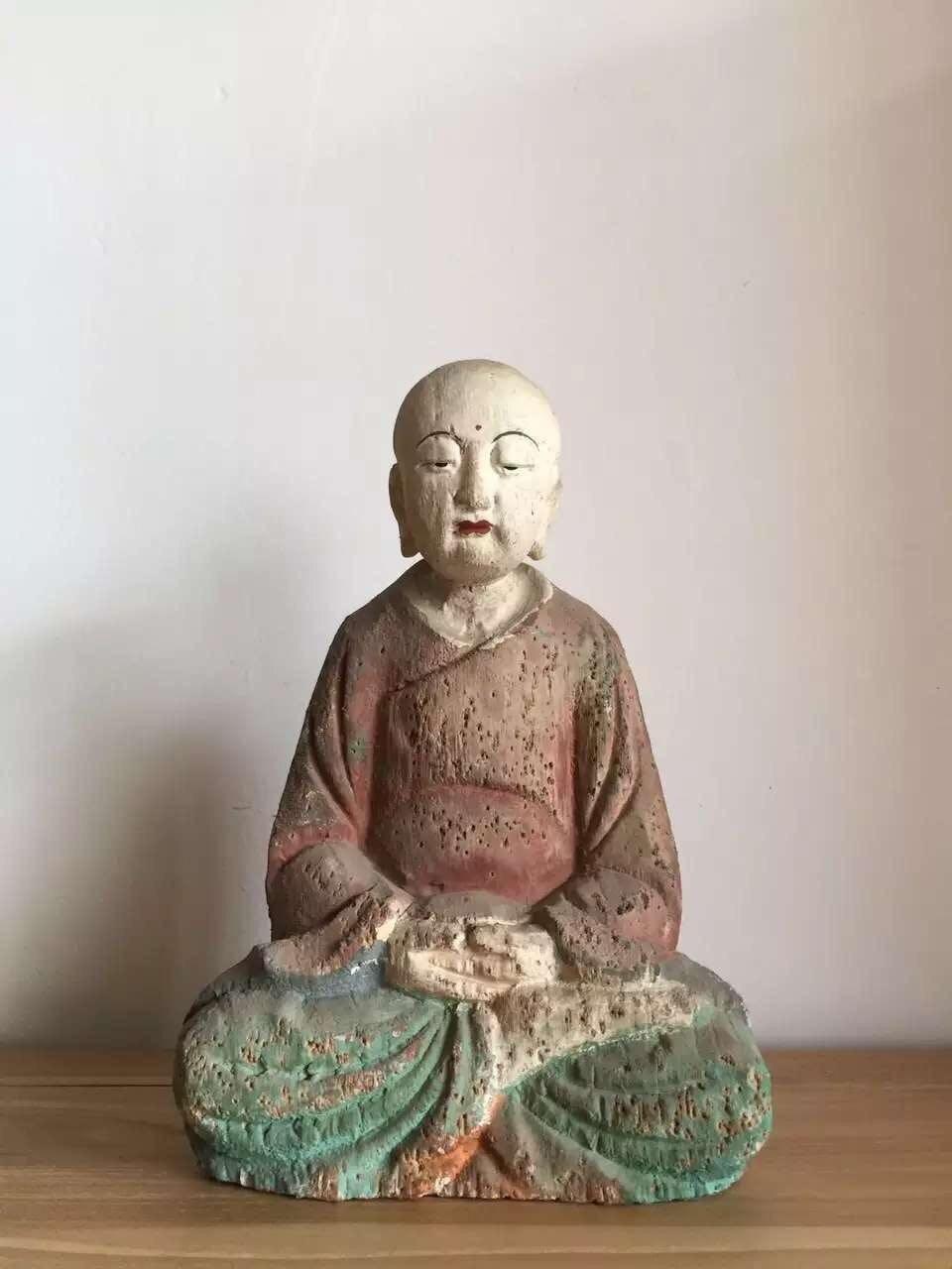 Statue d'ornement de bouddha en bois Antique chinois