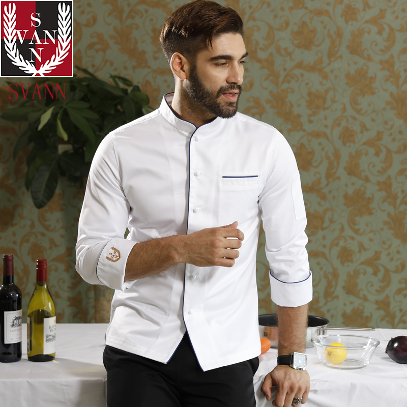 Food service high quality restaurant kitchen pure cotton long sleeve white top chef coat for Cooking competition