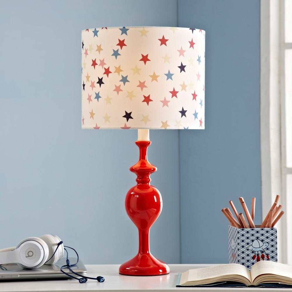 Современная мода коттедж здоровый старый небо Красный Смола Ткань E27 настольная лампа для детей подарок Спальня детский сад H 56 см 2050