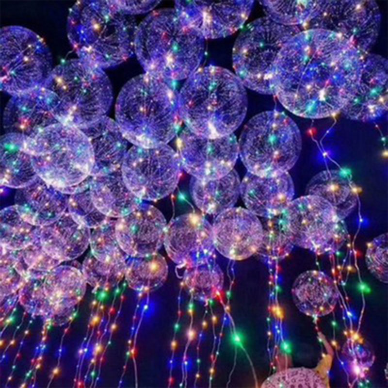 10psc18-inch transparent Bobo birthday party decoration wedding layout LED lantern glow line balloons toy balloon wholesale