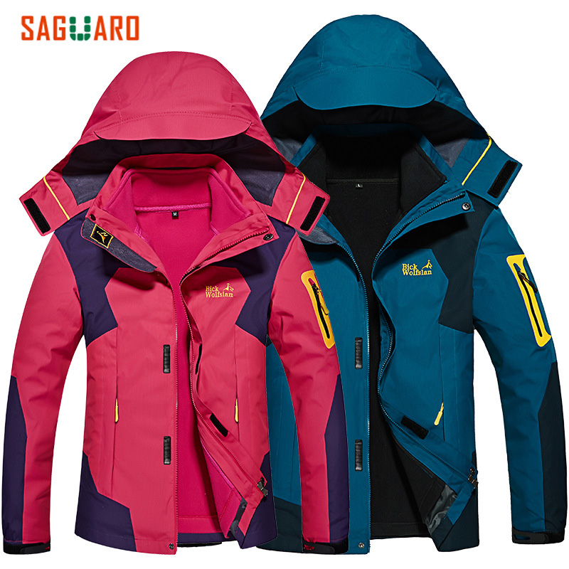 где купить  SAGUARO New Autumn Winter Jacket Men Women Skiing Jacket Outdoor Windproof Waterproof Warm Sport Coat Fleece Liner In one Jacket  по лучшей цене