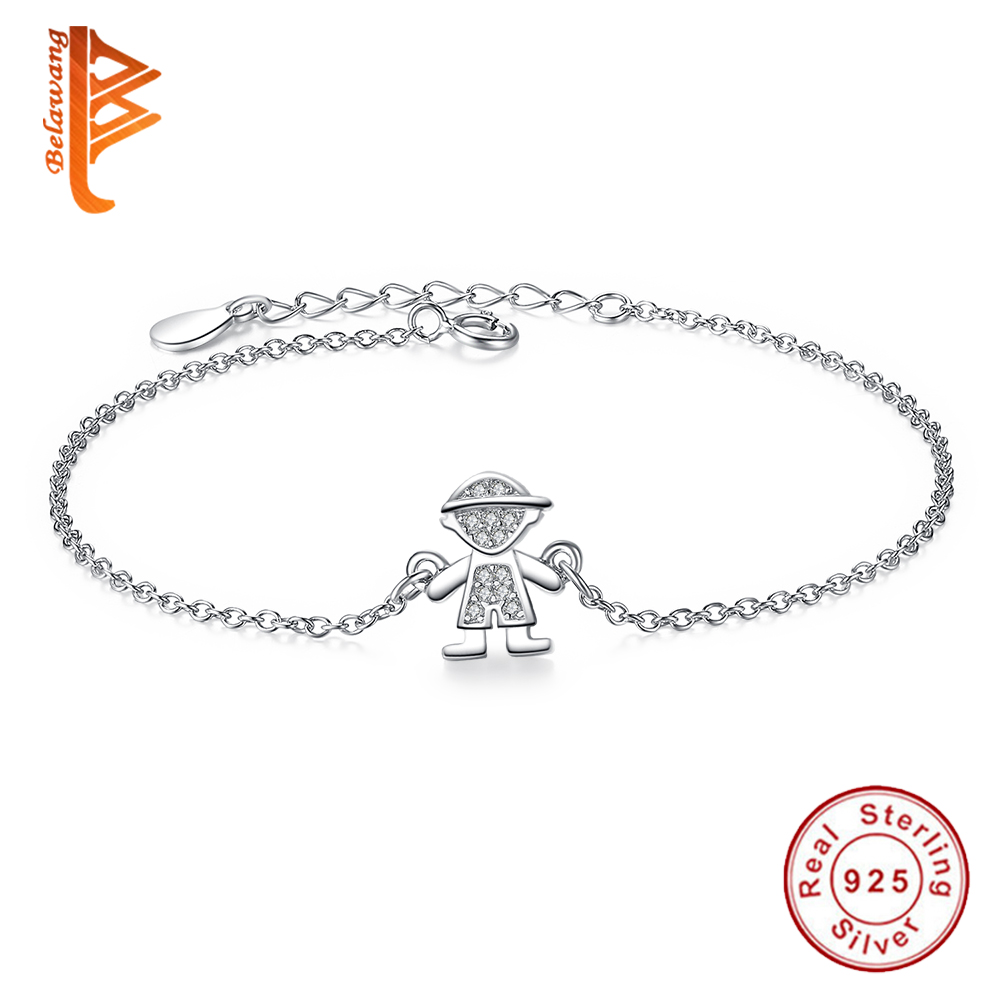 Retro Cute Boy Pendant 925 Sterling Silver Charm bracelets for Girls Boy Cubic Zircon Crystal bracelets & bangles for women men