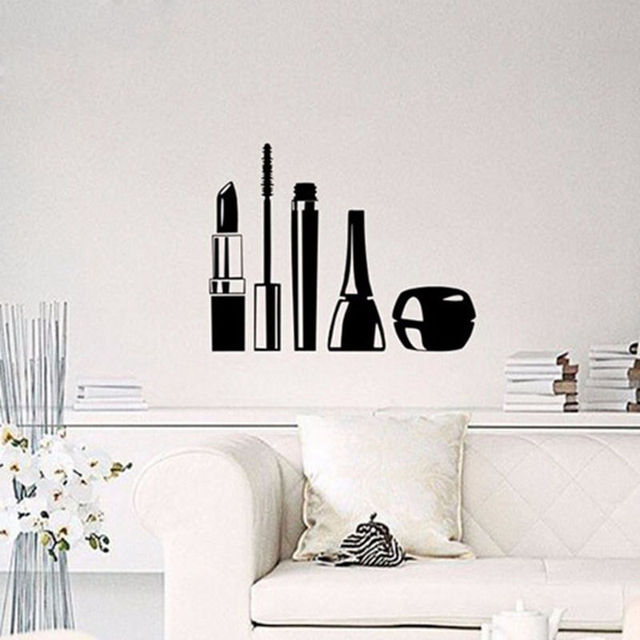 Beauty salon cosmetics wall stickers home wall window decoration living room girls makeup vinyl wallpaper perfect