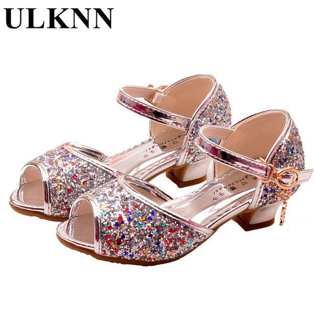0cfbc97f4a55d1 ULKNN Bowtie sandals for Girls sandalia infantil shoe purple princess girl  shoes for kids Chaussure enfant summer sandal Glitter