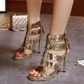 2016 Summer Women's Sandals Pumps Golden Hollow Out High Heels Sandals Sexy Platform Shoes Women Gladiator Sandalias C233