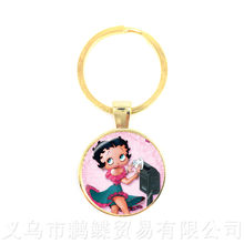 2018 New Lovely Sexy And Charming Betty Boop Keychains Cute Cartoon Multiple Color Selectable Best Friends Keyring(China)