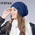FURTALK Spring Autumn Wool Knit Slouchy Hat for Women and Girls Cross Caps Women Wool Knit Beanie Braided Hats Stocking Hat
