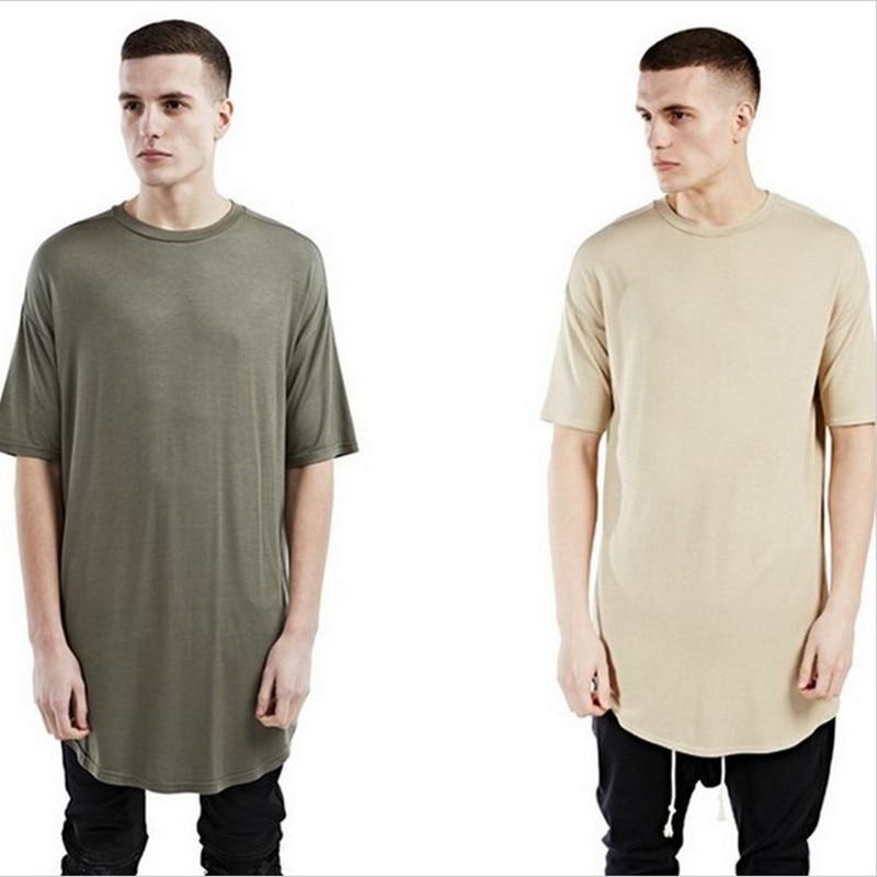 Men West-Clothing T-Shirt Curved Hem Oversized Justin Bieber Kanye Street-Wear Tee Elongated gown
